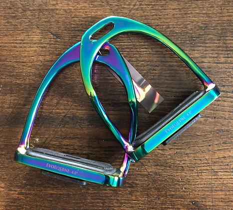 "Evo Equine Rainbow Gloss Bent Leg Stirrup. 4.5"""