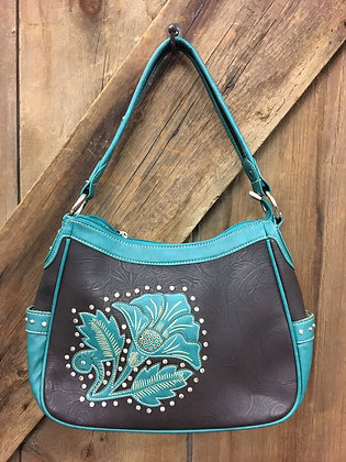 Bling Purse Teal and Black Floral