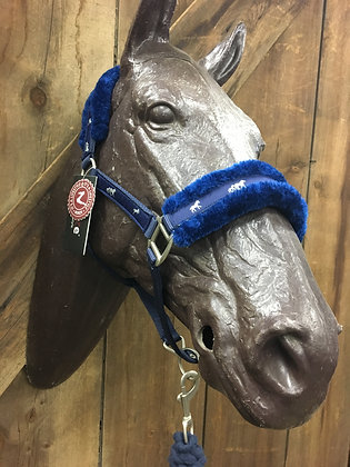 Fleece Halter with Horse Print Ribbon with Cotton Lead