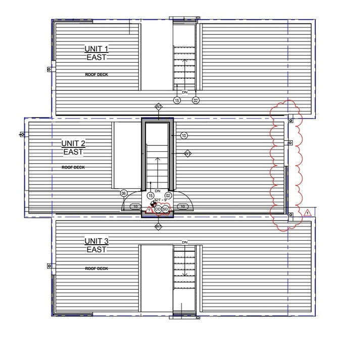 Townhome house rooftop roof deck layouts greencity development
