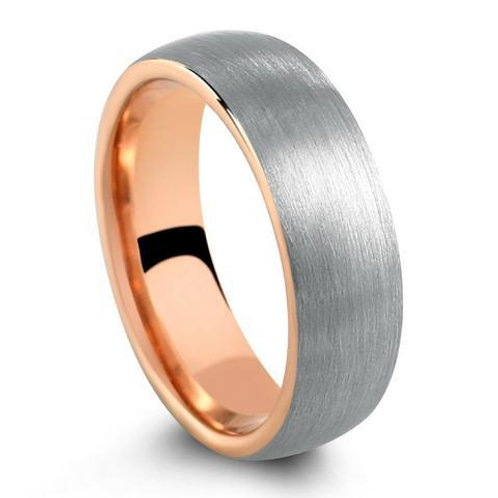 Tungsten Polished Silver-Rose Gold Ring