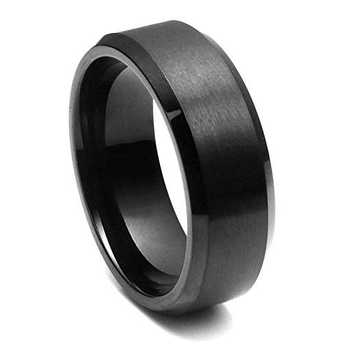 Tungsten Polished Matte Black Ring