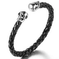 Leather Bracelet (Black) with Silver Skeleton Skull Heads