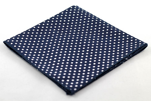 Pocket Square - Navy Blue/White Polka Dots