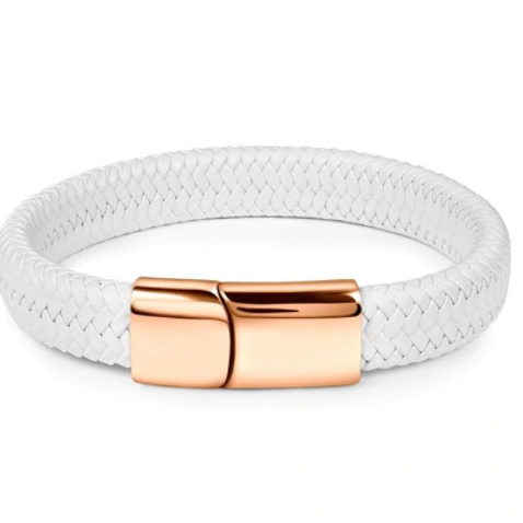 White Leather Bracelet with Rose gold Clasp