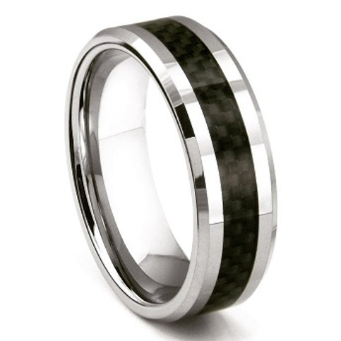 Tungsten Polished Carbide Inlay Ring -Silver