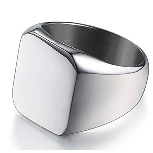 Stainless Steel Square Ring - Silver