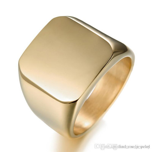 Stainless Steel Square Ring - Gold