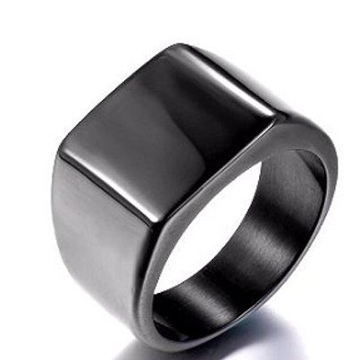 Stainless Steel Square Ring - Black