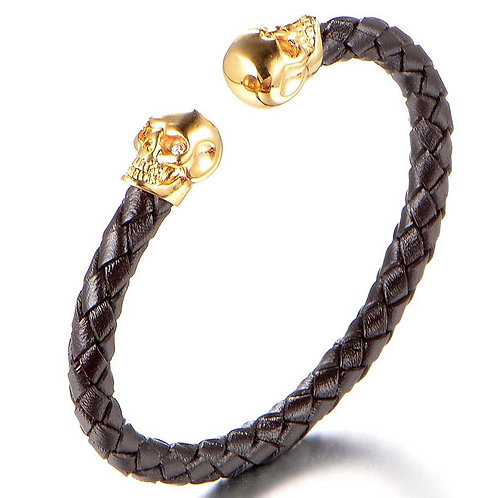 Leather Bracelet (Black) with Gold Skeleton Skull Heads
