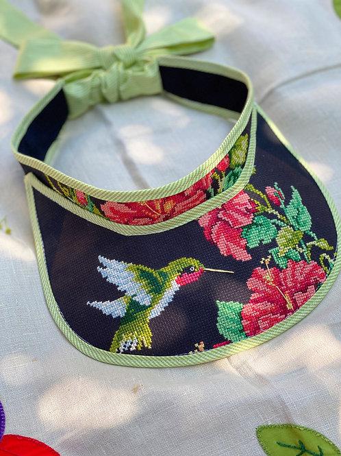 """""""Endless Summer"""" Visor:  Hummingbird Hand Cross-stitch"""