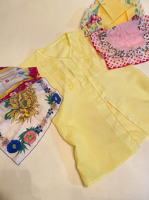 Made To Order Vintage Hankie Flutter Sleeve Patchwork Top