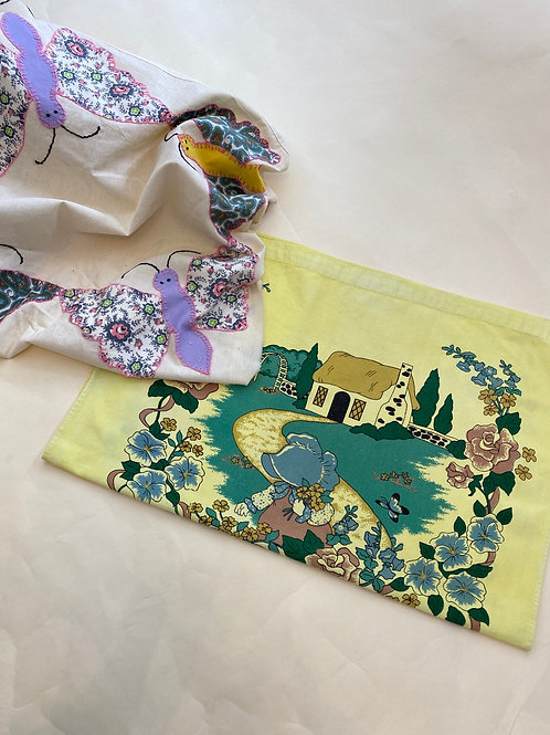 1996 Butterfly Cottage - Overdyed Tea Towel w/ Turmeric