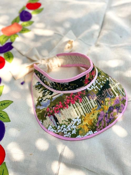 """Wide Brim LULU"" Visor:  Spring Blossom  Picketed White Fence"