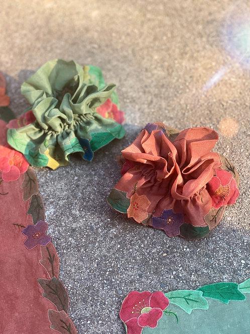 The Blossom Floral Applique Scrunchie- Neutrals