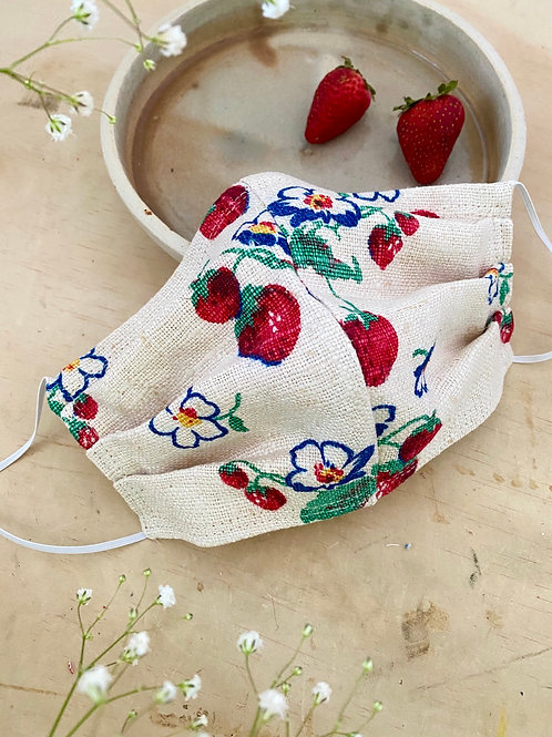 MADE TO ORDER: Strawberry Print Mask (Flowers)