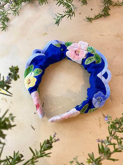 Blue Multi Scallop Floral Head Band