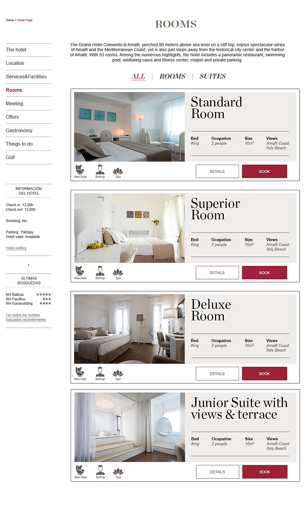 Diseño UX UI página ecommerce hoteles NH Collection por Tito Marin