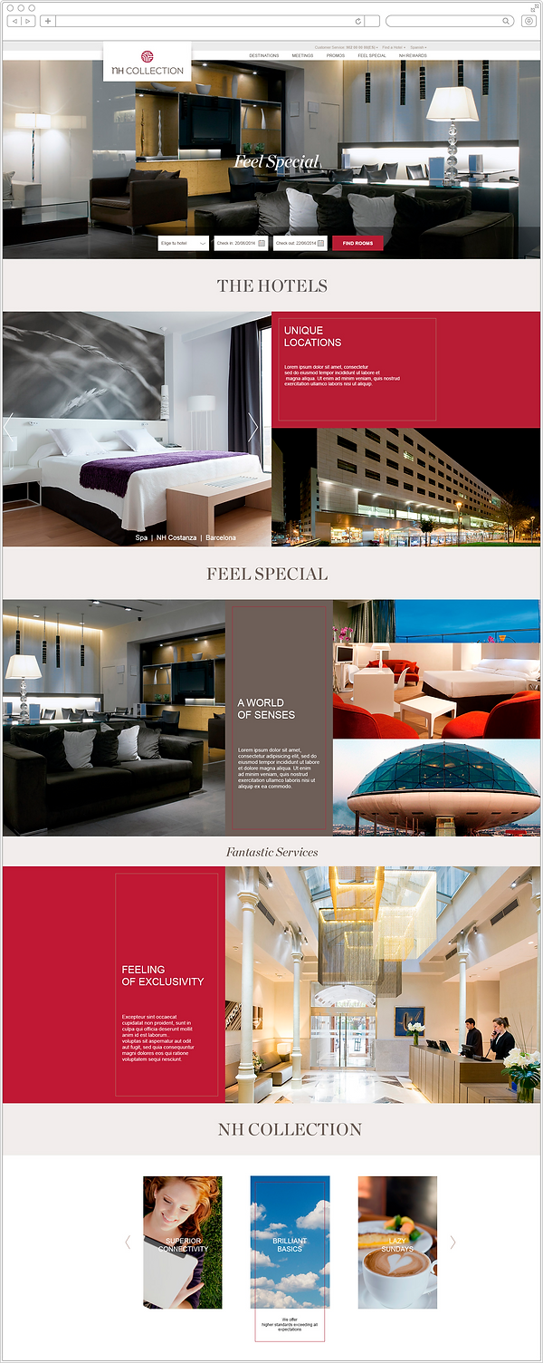 Diseño UX UI página hoteles NH Collection por Tito Marin