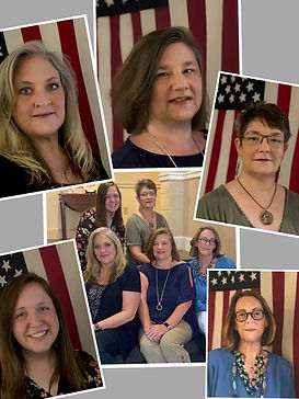 Collage photos of  6 photos of the Administrative Staff. 5 individual photos of women and one group.