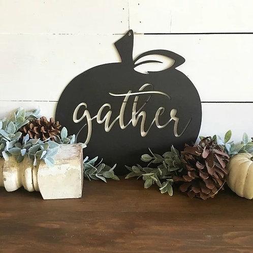 Pumpkin with Gather Metal Fall Sign