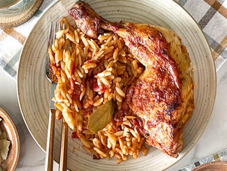 Greek Chicken & Orzo Casserole (Giouvetsi/ Youvetsi)