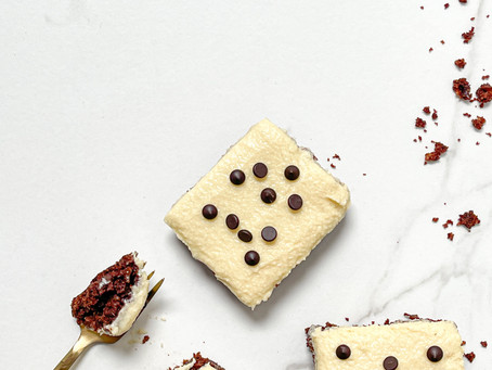 Vegan Brownies with White Chocolate Frosting