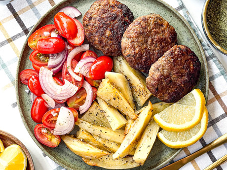 Greek Roasted Burger Patties & Potatoes