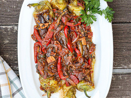 Long Green Peppers in Tomato Sauce