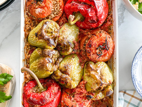 """Greek Stuffed Vegetables """"Gemista"""" with Rice and Ground Beef"""