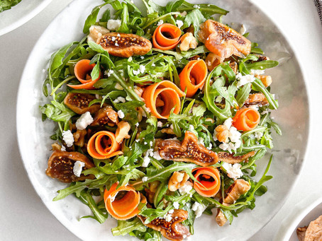 Dried Fig Arugula Salad with Walnuts and Goat Cheese