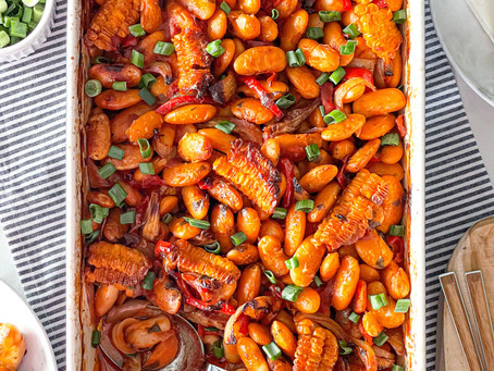 """""""Gigantes"""" with Corn (Greek Giant Baked Beans)"""