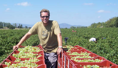 Jon with the first crop of Muscat