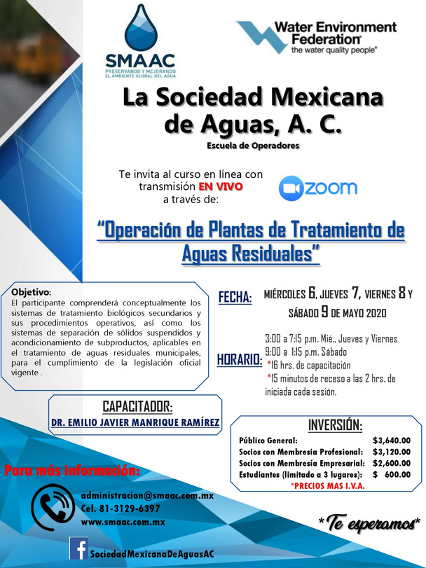 Curso: Operación de Plantas de Tratamiento de Aguas Residuales, en VIVO a través de ZOOM