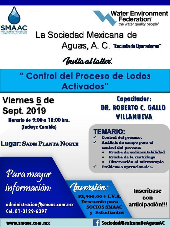 Curso/Taller: Control del Proceso de Lodos Activados - 6 Sept. 2019