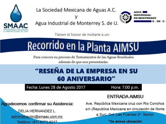 INVITACION A RECORRIDO PLANTA AIMSU