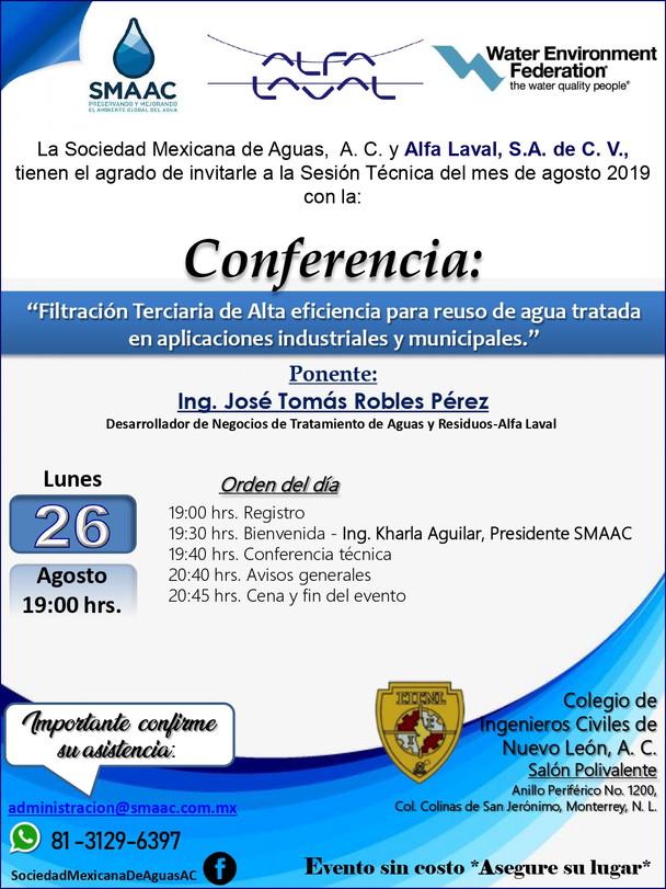 INVITACIÓN A SESIÓN TÉCNICA-26 AGO 19-ALFA LAVAL