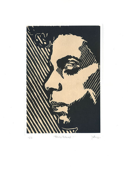 """""""Dearly Beloved"""" Chine-Collé Woodblock Print (black)"""