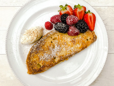 CINNAMON EGGY BREAD WITH POACHED BERRIES