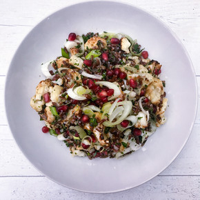 ROASTED CAULIFLOWER, POMEGRANATE, RED RICE AND PARSLEY SALAD