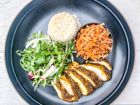OVEN ROASTED SPICED CHICKEN WITH A CARROT AND BLACK MUSTARD SEED SALAD