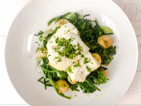 COD WITH SAMPHIRE, KALE AND BABY POTATOES