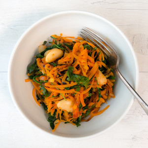 BUTTER BEANS WITH BUTTERNUT SQUASH NOODLES