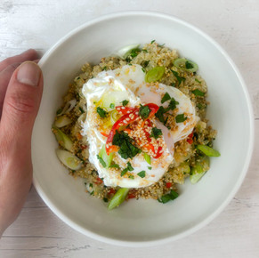 BREAKFAST QUINOA WITH POACHED EGGS, CHILLI AND SPRING ONIONS