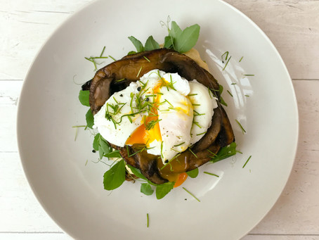 MUSHROOMS ON TOAST WITH A POACHED EGG AND PEA SHOOTS