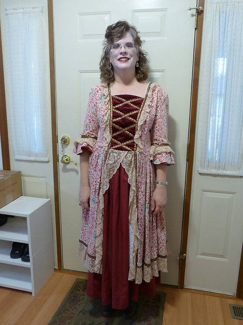 Period Dress - Pink and Burgundy
