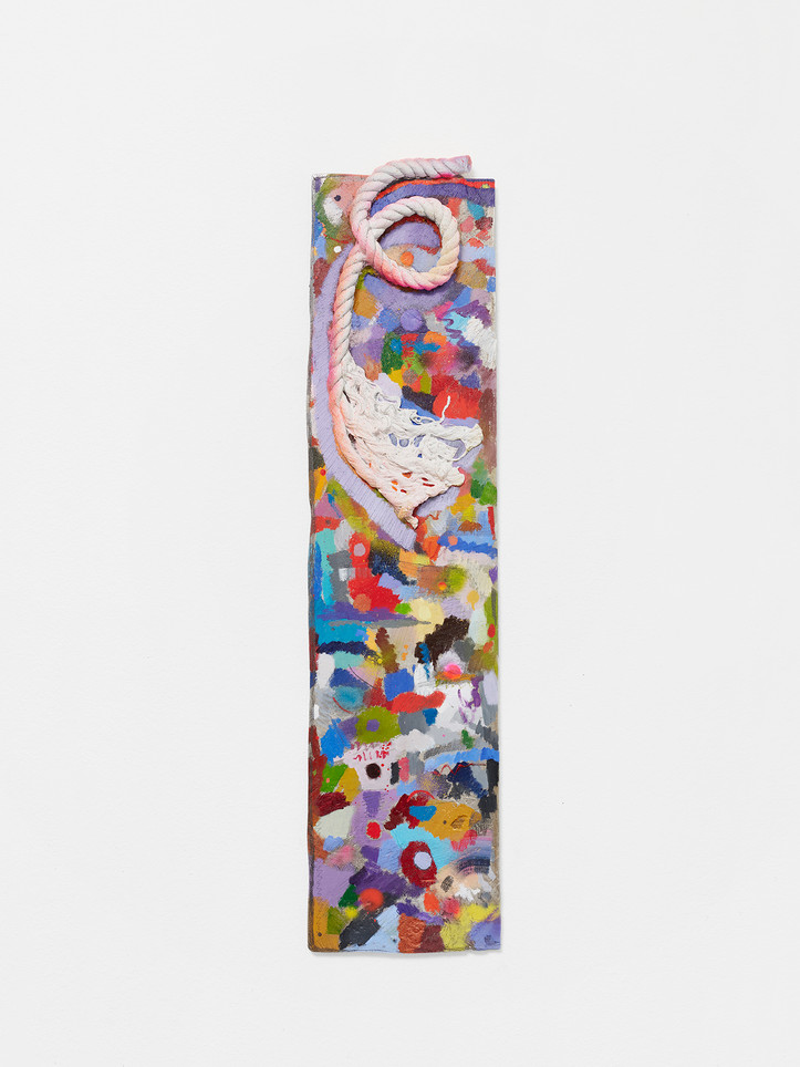 marks cover, layers layer, 2021 Oil and enamel paint, graphite on cast aluminum 48 x 12 x 2 inches