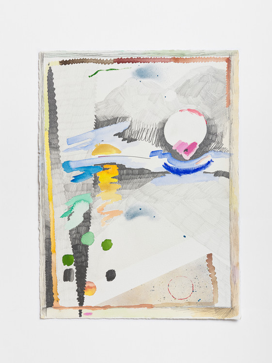 Cloud/shift, 2020 Watercolor, enamel and paint and graphite on paper 40 x 23 inches