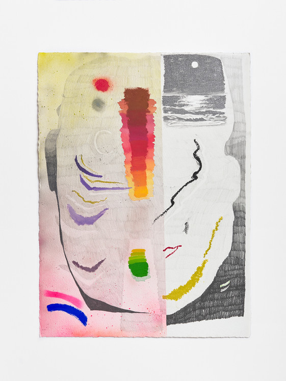 cut, 2020 Watercolor, enamel and paint and graphite on paper 40 x 23 inches