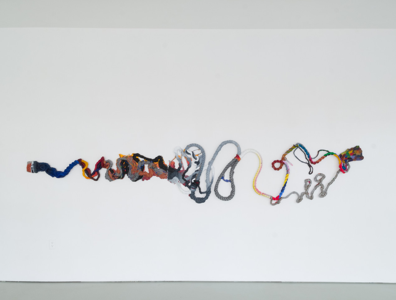 (itself; as far) Position, 2019 Oil and enamel paint, graphite on cast aluminum 36 x 170 x 2 inches